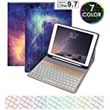 """New iPad 9.7 inch 2018 2017 Keyboard Case. 7 Color Backlit with Built-in Apple Pencil Holder,Slim Folio Cover Removable Wireless Bluetooth Keyboard for iPad 9.7"""" (6th Gen, 5th Gen)/iPad Air(Galaxy)"""