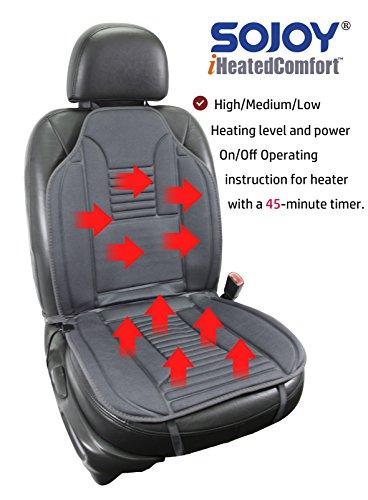 SOJOY Universal 12V Heated Car Seat Heater Heated Cushion Warmer High/Low/Temp Switch, Timer (Gray)