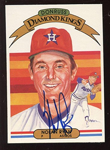 Ball Ryan Nolan (Autographed Nolan Ryan Ball - 1982 Donruss Diamond Kings Card EXMT Hologram - Autographed Baseball Cards)