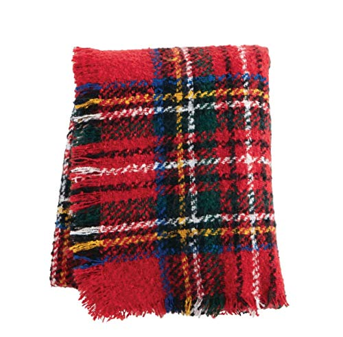 (MUDPIE RED Tartan Boucle Throw)
