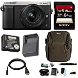 Panasonic Lumix DMC-GX85 Mirrorless Digital Camera w/12-32mm Lens (Silver) & Sony 64GB Memory Card & Accessory Bundle