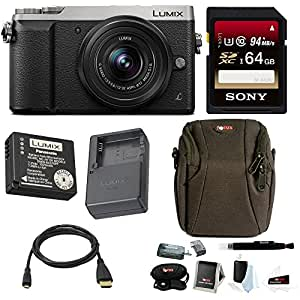 Panasonic Lumix DMC-GX85 Mirrorless Digital Camera w/ 12-32mm Lens (Silver) & Sony 64GB Memory Card & Accessory Bundle