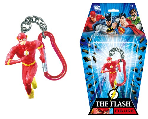 DC+Comics Products : The Flash Superhero with Logo DC Comics Character Figure 3-Inch Figurine Keyring with Carabiner Collectible Item