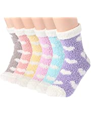 Plush Slipper Socks Women - Colorful Warm Crew Socks Cozy Soft 6 Pairs for Winter Indoor