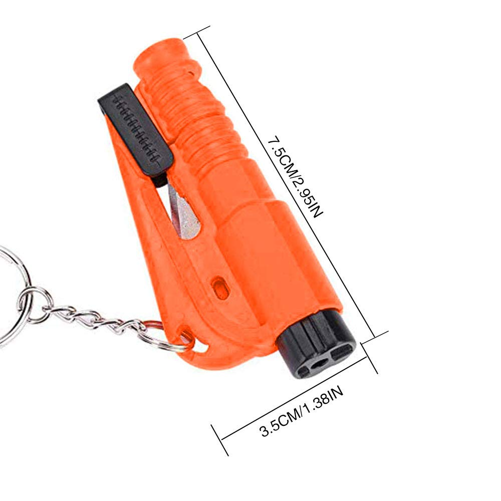 - Whistle//Breaker//Cut Keychain 3-in-1 Car Survival Rescue Tool 4PCS Bloomoak Car Emergency Escape Window Punch Tool Add Security For Your Travel