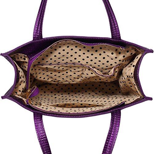 cuir London Purple à Femme pour bandoulière Xardi femme de grande main Concepteur Sac Sac tout fourre A4 Style 2 verni simili taille à PRwR4q