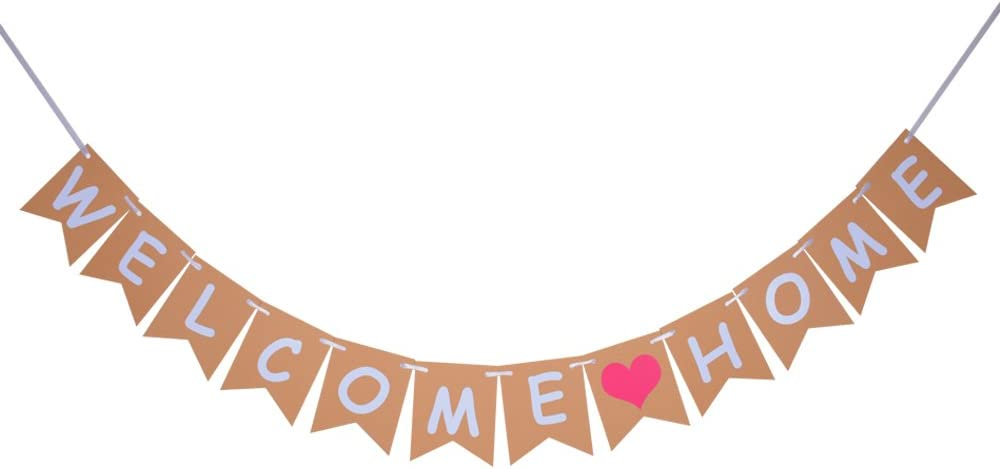 Welcome Home Banner, Vintage Home Decoration for Family Party, Photo Props