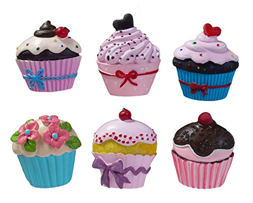 Cake Fridge Magnet - GIFTME 5 Cute Kitchen Fridge Magnets Set of 6 Cupcake Designs-Perfect For Home, School, Classroom and Office Magnets, Magnets for Refrigerator Dry Erase Board and Whiteboard Magnets with Gift Boxs...