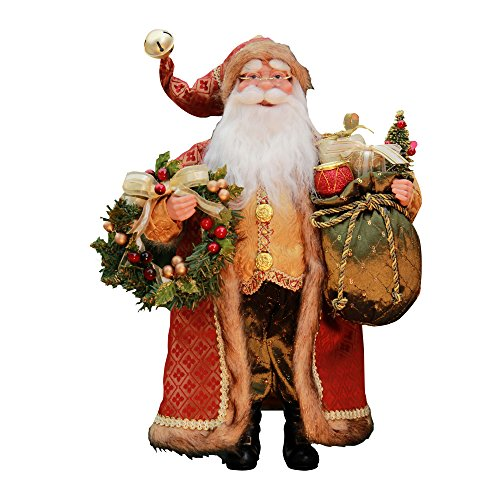 "Windy Hill Collection 16"" Inch Standing Crimson Santa Claus Christmas Figurine Figure Decoration 416060"