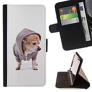 Momo Phone Case / Flip Funda de Cuero Case Cover - Chihuahua Dog Fashion Style Cachorro; - Samsung Galaxy J1 J100