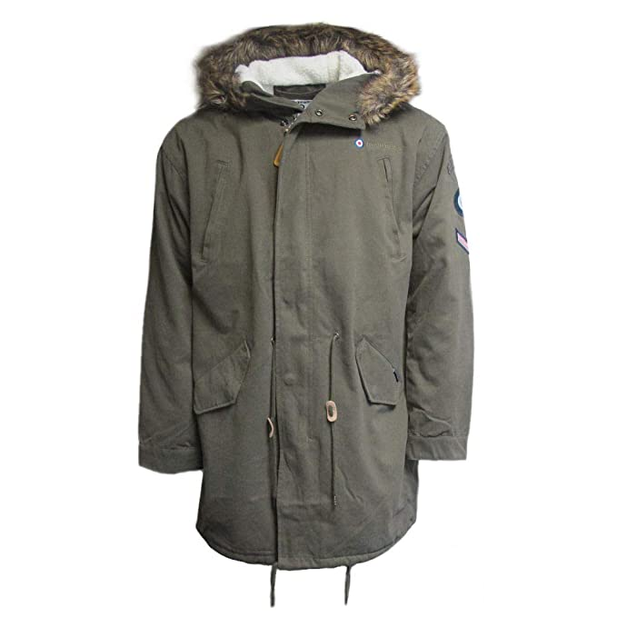 60s 70s Men's Jackets & Sweaters Lambretta Mens Retro Mod Sherpa Lined Fishtail Parka Jacket $119.95 AT vintagedancer.com