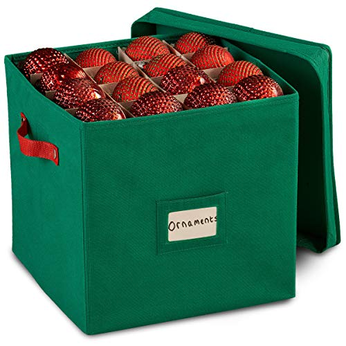 Durable Non-Woven Christmas Ornament Storage Box with Removable lid, Stores up-to 64 Standard Holiday Ornaments & Xmas Decorations For Seasons To come - 12 x 12 Inch 3 Layer Ornament Storage Container