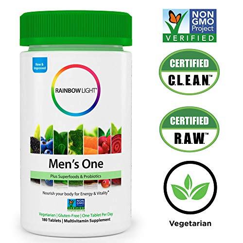 Rainbow Light - Men's One Multivitamin Non-GMO Bonus Size - Plus Superfoods, Probiotics, and Plant-Source Enzymes; Vegetarian and Gluten Free - 180 Tablets by Rainbow Light (Image #6)