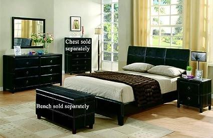 4pc Queen Size Bedroom Set in Black Bycast Like Vinyl