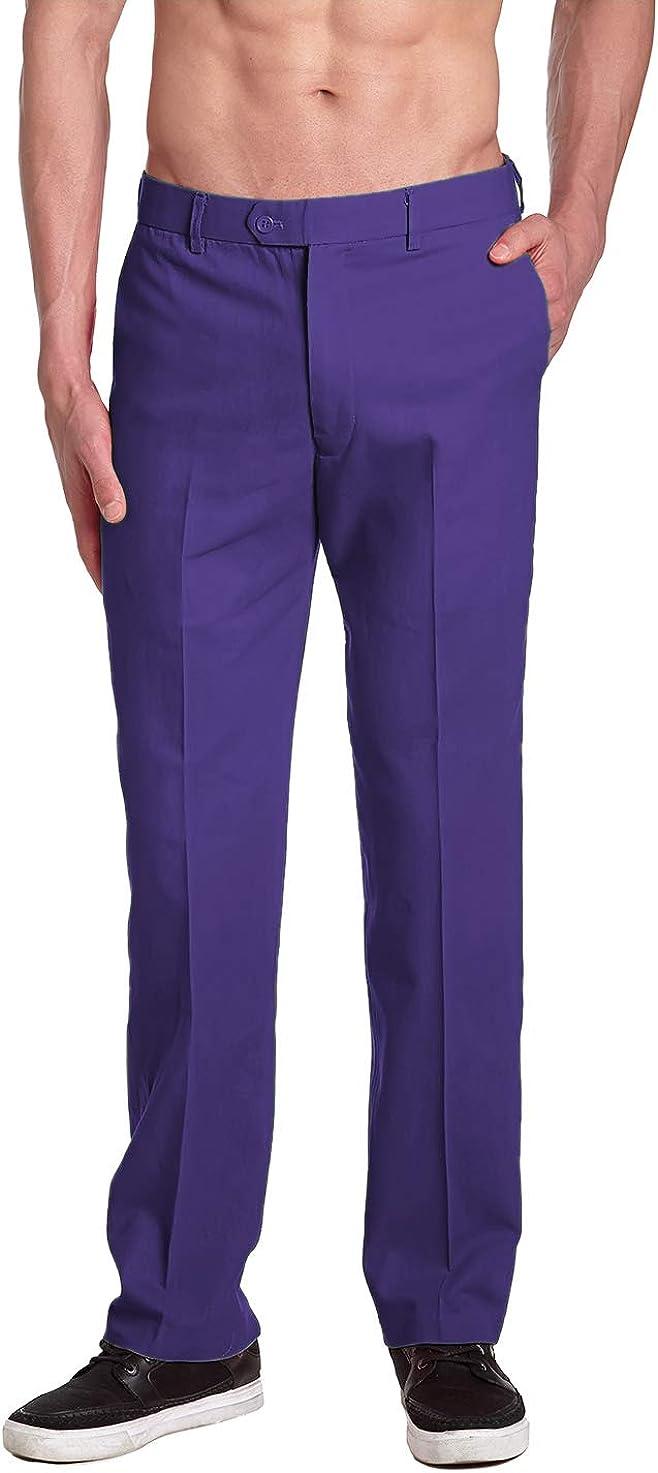 CONCITOR Brand Men's COTTON Dress Pants PURPLE INDIGO Flat Front Mens Trousers Purple Indigo HUaA8
