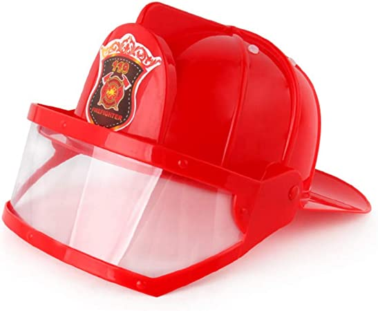 Kids Fireman Pretend Play Safety Helmet Hat Halloween Party Dress Up Black
