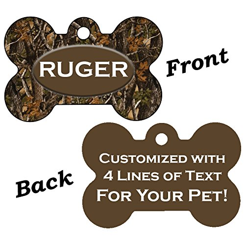 UDesignUSA Double Sided Camo Print Pet Id Dog Tags Personalized with 4 Lines of Text (Realtree Outdoor)