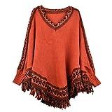 Zeagoo Women's Batwing Sleeve Tassels Hem Cloak Knitting Sweater Cardigans