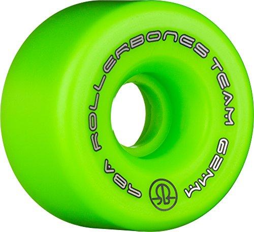 RollerBones Team Logo Recreational Roller Skate Wheels (Set of 8), Green, ()