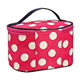 Round Dot Large Cosmetic Bag Travel Makeup Organizer Case Holder Organizer Travel Bag (Watermelon Red)