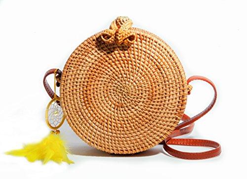 CraftsBrothers -PREMIUM Handwoven Round Rattan Bag Crossbody Leather Shoulder strap handbag for Women Bonus Dream Catcher