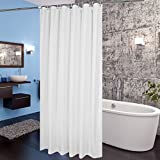 Extra Long Fabric Shower Curtain Aoohome Fabric Shower Curtain 72x78 Inch, Extra Long Shower Curtain Liner for Hotel with Hooks, Waterproof, Mildew Resistant, White