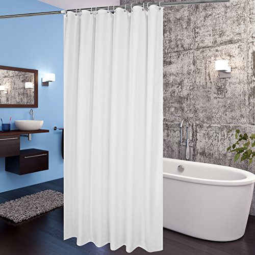 Aoohome Extra Long Shower Curtain Liner, Fabric Shower Curtain with Hooks for Hotel, Waterproof, 72 x 84 Inch, White