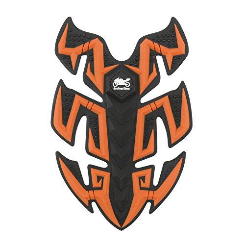Orange Tank Pad - Artudatech 1x Rubber Motorcycle Sport Bike Gas Oil Tank Pad Protector Fish Bone Sticker Ora