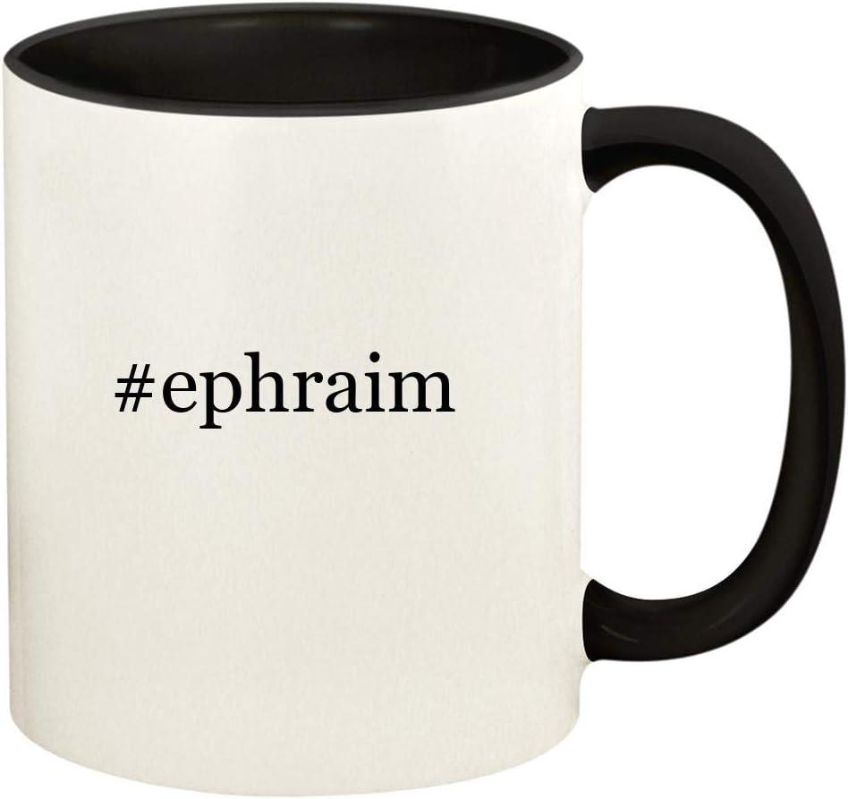 #ephraim - 11oz Hashtag Ceramic Colored Handle and Inside Coffee Mug Cup, Black