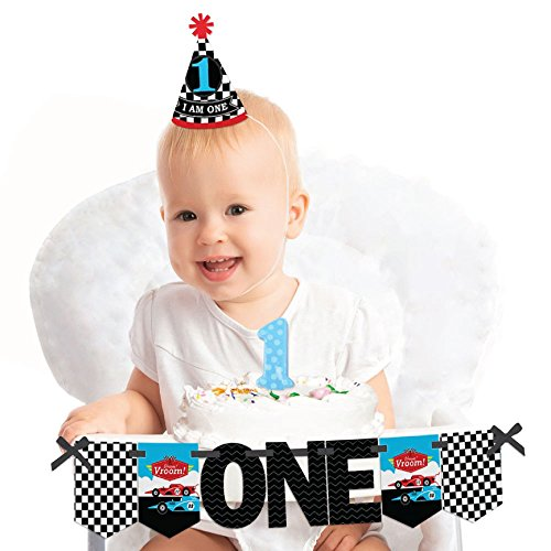 Big Dot of Happiness Let's Go Racing - Racecar 1st Birthday - First Birthday Boy Smash Cake Decorating Kit - Race Car High Chair Decorations ()