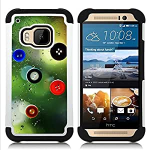 For HTC ONE M9 - Buttons Art Design Fashion Window View /[Hybrid 3 en 1 Impacto resistente a prueba de golpes de protecci????n] de silicona y pl????stico Def/ - Super Marley Shop -