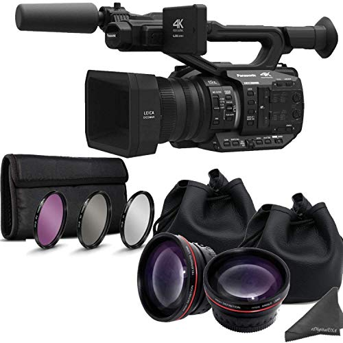 Panasonic AG-UX90 4K/HD Professional Camcorder with Dual Auxiliary Lens Bundle & eDig Maintenance it