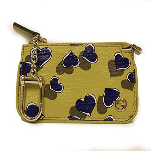 Gucci Card Holder 'Heartbeat' Yellow Leather Designer Keychain Wallet 233183 by Gucci
