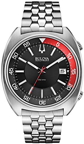 (Bulova Accutron II Black and Red Dial Stainless Steel Quartz Men's Watch)