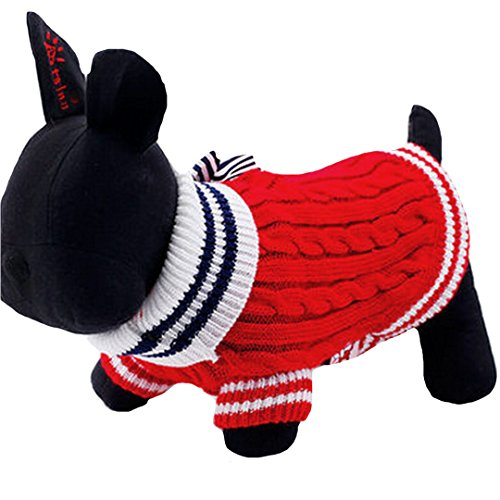 Budd Fashion Pet Dog Knitted Sweater Pets Puppy Winter Warm Cotton Knitted Clothes Christmas Navy Sweaters for Dogs with Bowknot(Red,S)]()