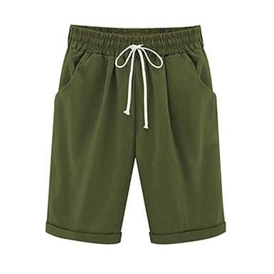 dfde72be00af9d Bermuda Shorts Damen Knielang Sommer Große Größen Kurze Hose mit Gummizug  Stretch Shorts Damen Sommerhose Kurz
