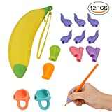 TOROTON Pencil Grips, Assorted Writing Aid Grip Trainer Posture Correction Finger Grip for Kids, Assorted Colors (12 Pcs)