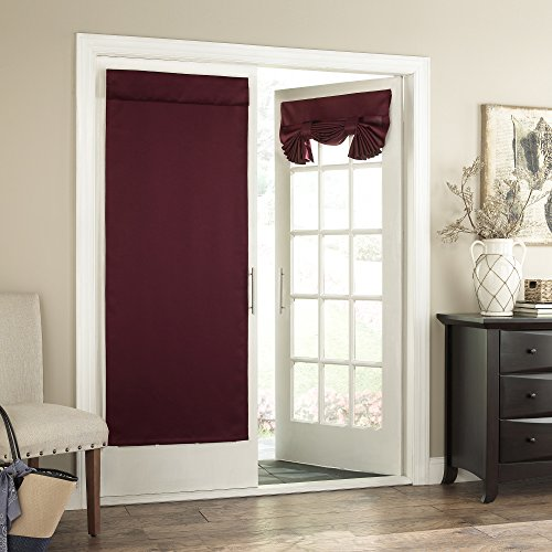 Burgundy Velcro - Eclipse French Door Curtain -Tricia Tie Up Light Filtering Single Panel Drapes for Patio, for Living Room and Bedroom, 26