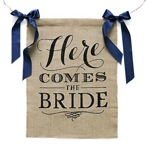 Ling#039s moment Rustic Theme Wedding Burlap Sign Banner quotHere Comes the Bridequot With Navy Blue Ribbon 15 x 20 Inches