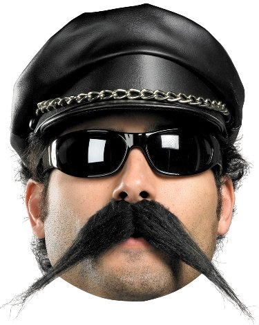 Costumes Accessories Long Pointed Black Village People Biker Moustache Costume Theme Party Accessory