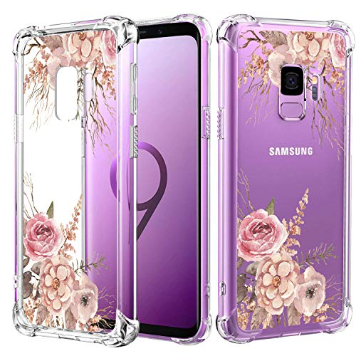 JOYER Compatible Galaxy S9 Case, Clear Soft Flexible TPU Case Shockproof Rubber Silicone Skin with Flowers Floral Back Cover for Samsung Galaxy S9 (2018) (Clear Peony)