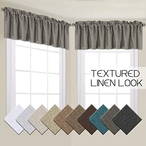 H.VERSAILTEX Energy Saving Textured Linen Curtain Valances for Living Room Rod Pocket Window Valances for Kitchen Laundry Bath, 2 Panels, Each 52 inch x 18 inch, Taupe Gray