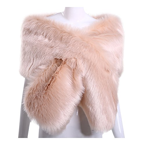 Women Long Faux Fox Fur Shawl Bridal Stole Cover Up Winter Soft Bolero Scarf Blush