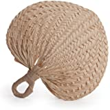 Koyal Wholesale Decorative Raffia Fans, Natural, Set of 12