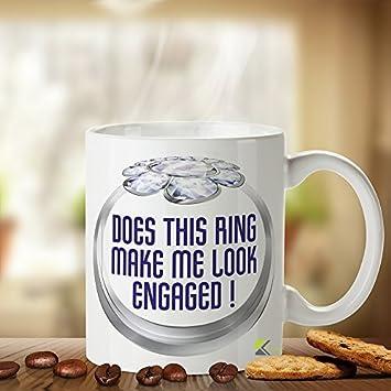 Amazon Does This Ring Make Me Look Engaged Mug Novelty Ceramic
