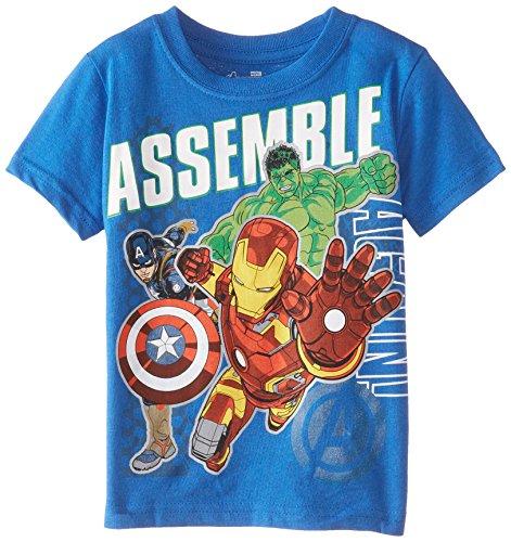 Marvel Little Boys' Toddler Avengers Assemble Short Sleeve T Shirt, Blue, 2T