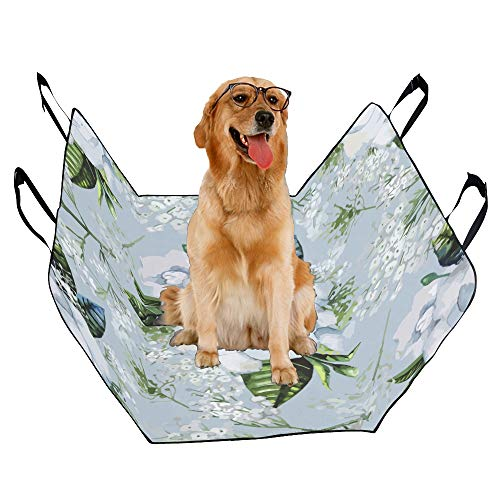(JTMOVING Fashion Oxford Pet Car Seat Gardenia Natural Hand Painted Waterproof Nonslip Canine Pet Dog Bed Hammock Convertible for Cars Trucks SUV )