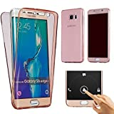 Image of Houshine case8787 Galaxy S7 Edge Case(Front Plus Back Cover Gel Series), Outshine Shockproof TPU 360 Degree Protective Clear Crystal Rubber Soft Case Cover for Samsung Galaxy S7 Edge - Rose Gold