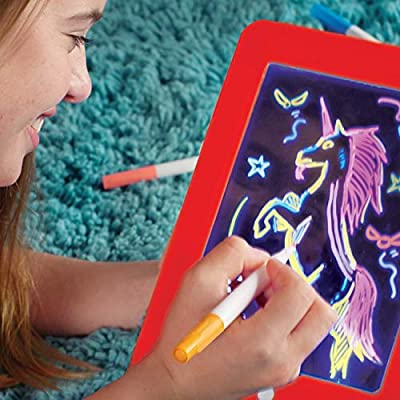 Ontel Deluxe Bonus Magic pad Light up LED Drawing Tablet which Includes 4 Dual Side Markets, Fun Guide 42 Stencils, Glow Boost Card, Dry Eraser and Carrying Case: Arts, Crafts & Sewing
