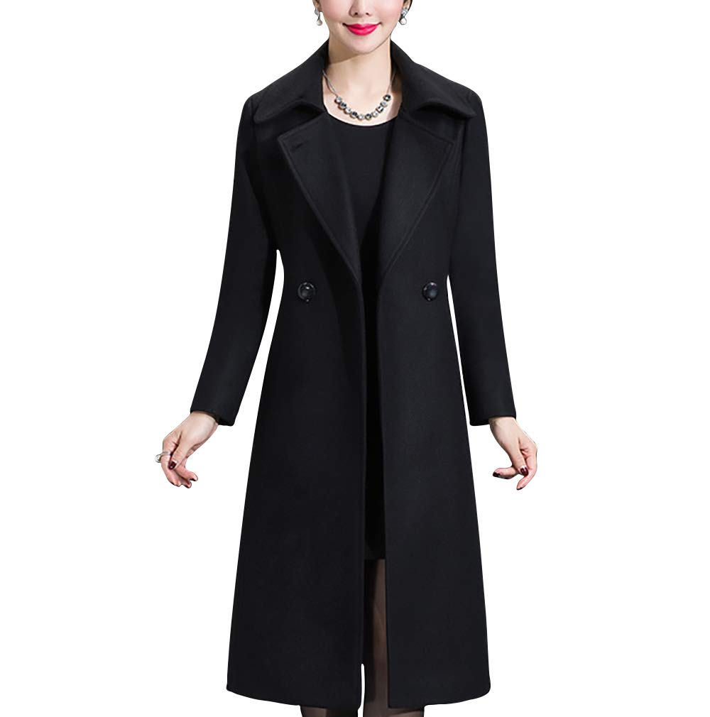 Aprsfn Women's Elegant Solid Color Mid-Length Thicken Warm Wool Blend Coat